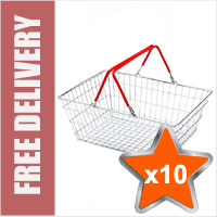 10 x 19 Litre Wire Shopping Hand Baskets (Red Handles)