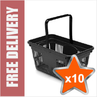 10 x 24 Litre Plastic Hand Baskets (Black)