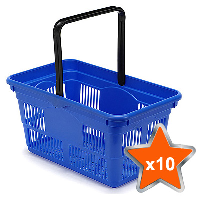 10 x 24 Litre Plastic Hand Baskets (Blue)