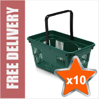 10 x 24 Litre Plastic Hand Baskets (Green)