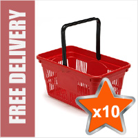 10 x 24 Litre Plastic Hand Baskets (Red)