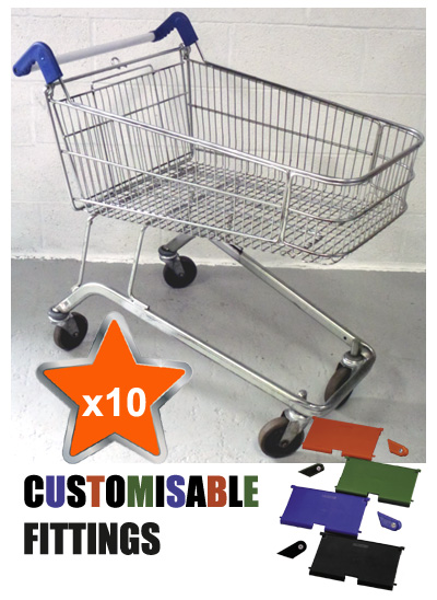 10 x 100 Litre Shallow Wire/Metal Supermarket Shopping Trolleys