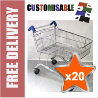20 x 100 Litre Shallow Wire/Metal Supermarket Shopping Trolleys