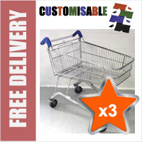 3 x 100 Litre Shallow Wire/Metal Supermarket Shopping Trolleys