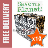 10 x Large Recycled Laundry Bags in Black/White Flora Print
