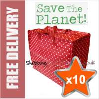 10 x Large Recycled Laundry Bags in Polka Dot Red/White