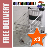 3 x 190 Litre Large Wire/Metal Supermarket Shopping Trolley