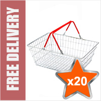 20 x 19 Litre Wire Shopping Hand Baskets (Red Handles)