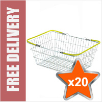 20 x 19 Litre Wire Shopping Hand Baskets (Yellow Handles)