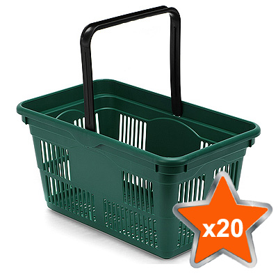 20 x 24 Litre Plastic Hand Baskets (Green)