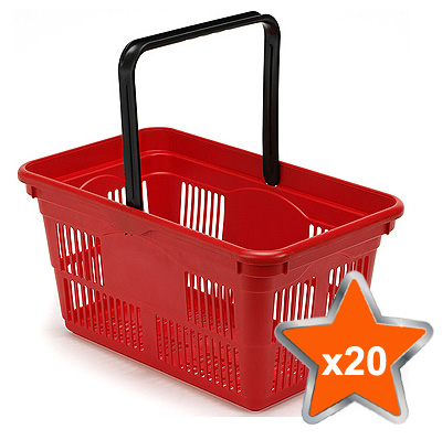 20 x 24 Litre Plastic Hand Baskets (Red)