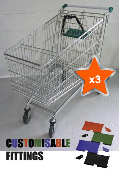 3 x 212 Litre Large Wire/Metal Supermarket Shopping Trolley