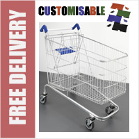 232 Litre Large Wire/Metal Supermarket Shopping Trolley