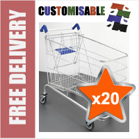 20 x 232 Litre Large Wire/Metal Supermarket Shopping Trolley