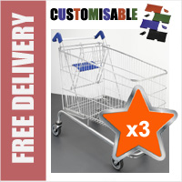 3 x 240 Litre Large Wire/Metal Supermarket Shopping Trolley