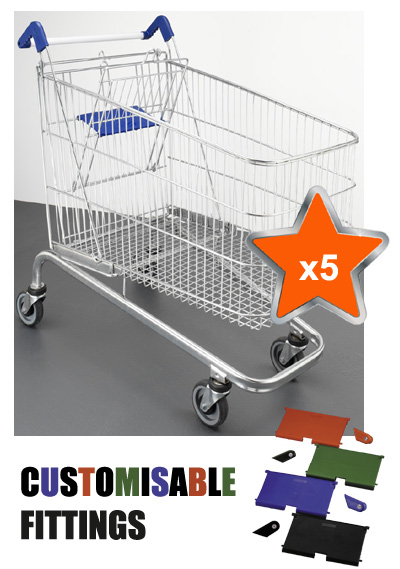 5 x 240 Litre Large Wire/Metal Supermarket Shopping Trolley