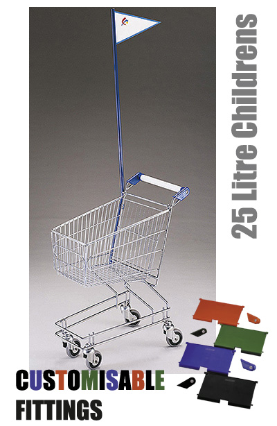 25 Litre Childrens Supermarket Shopping Trolley with Flag