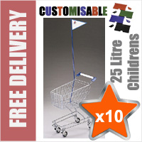 10 x 25 Litre Childrens Supermarket Shopping Trolley with Flag