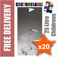 20 x 25 Litre Childrens Supermarket Shopping Trolley with Flag