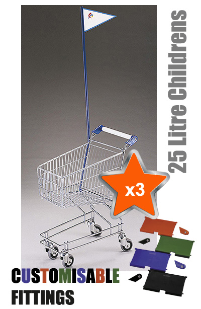 3 x 25 Litre Childrens Supermarket Shopping Trolley with Flag