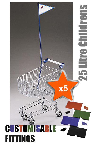 5 x 25 Litre Childrens Supermarket Shopping Trolley with Flag