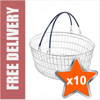 10 x 25 Litre Oval Wire Shopping Basket (Black Handles)