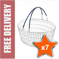 7 x 25 Litre Oval Wire Shopping Basket (Black Handles)