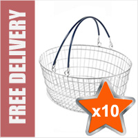 10 x 25 Litre Oval Wire Shopping Basket (Blue Handles)
