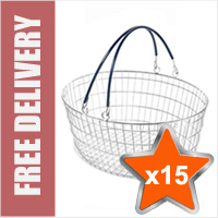 15 x 25 Litre Oval Wire Shopping Basket (Blue Handles)