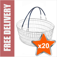 20 x 25 Litre Oval Wire Shopping Basket (Blue Handles)