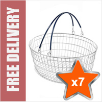 7 x 25 Litre Oval Wire Shopping Basket (Blue Handles)