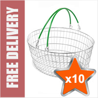 10 x 25 Litre Oval Wire Shopping Basket (Green Handles)