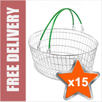 15 x 25 Litre Oval Wire Shopping Basket (Green Handles)