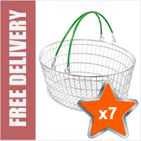 7 x 25 Litre Oval Wire Shopping Basket (Green Handles)