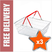 3 x 19 Litre Wire Shopping Hand Baskets (Red Handles)