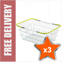 3 x 19 Litre Wire Shopping Hand Baskets (Yellow Handles)