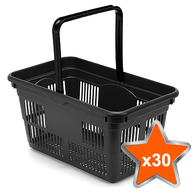 30 x 24 Litre Plastic Hand Baskets (Black)
