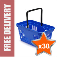 30 x 24 Litre Plastic Hand Baskets (Blue)