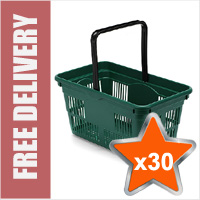 30 x 24 Litre Plastic Hand Baskets (Green)