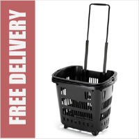 34 Litre Shopping Basket On Wheels - Black