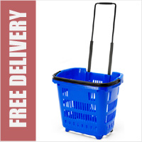 Shopping Basket On Wheels - Blue