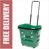 34 Litre Shopping Basket On Wheels - Green