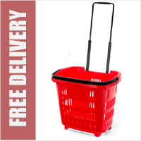 34 Litre Shopping Basket On Wheels - Red