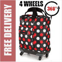 Venice 360 Degree Super Lightweight 4 Wheel Folding Shopping Trolley Bag Black with Red/White Dots