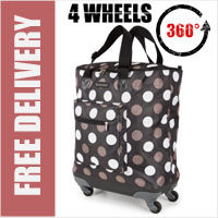 Venice 360 Degree Super Lightweight Folding Shopping Bag on 4 Wheels Chocolate with Choc/White Dots
