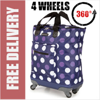 Venice 360 Degree Super Lightweight 4 Wheel Folding Shopping Trolley Bag Navy with Purple/White Dots