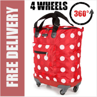 Venice 360 Degree Super Lightweight 4 Wheel Folding Shopping Trolley Bag Red with Red/White Dots