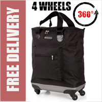 Venice 360 Degree Super Lightweight 4 Wheel Folding Shopping Trolley Bag Black