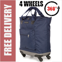 Venice 360 Degree Super Lightweight 4 Wheel Folding Shopping Trolley Bag Navy