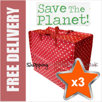 3 x Large Recycled Laundry Bags in Polka Dot Red/White